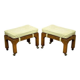 Vintage Pair of Hollywood Regency Campaign Style Stools Ottomans Benches Tables For Sale