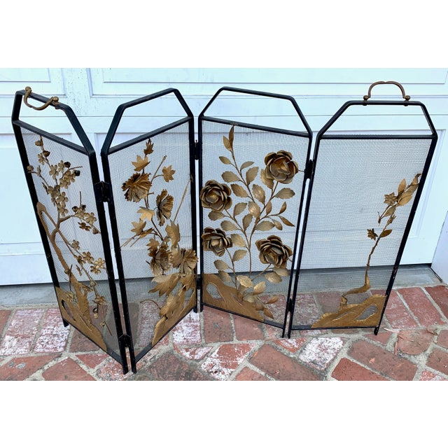 This four-paneled iron and brass Victorian chinoiserie fire place screen is detailed with maple leaves and roses. Each...