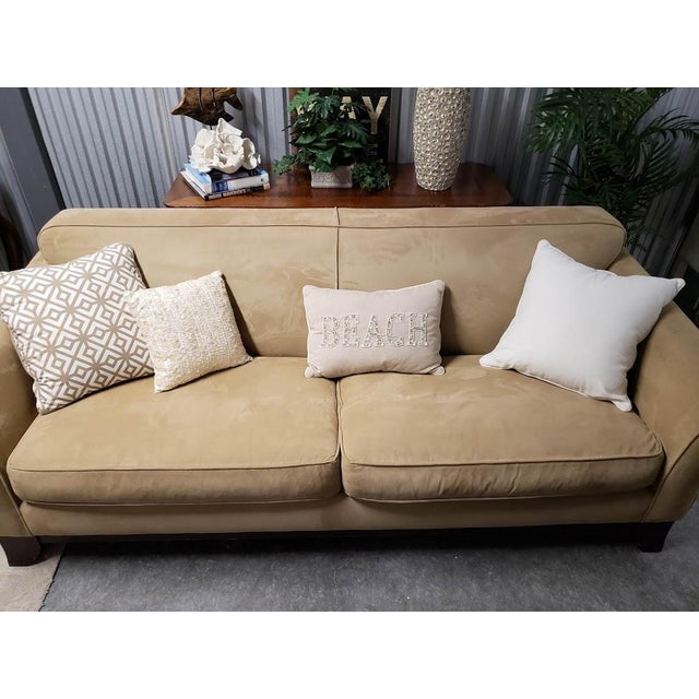 Pottery Barn Greenwich Suede 3-Seater 86\