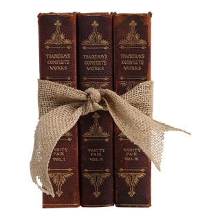 1930's Vintage Book Gift Set: Leather Novels - Set of 3