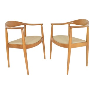 Pair of Hans Wegner Round Chairs For Sale