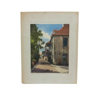 "Early 20th Century Antique ""Old Spanish Quarter"" Harris Mounted Hand-Colored Photograph For Sale"