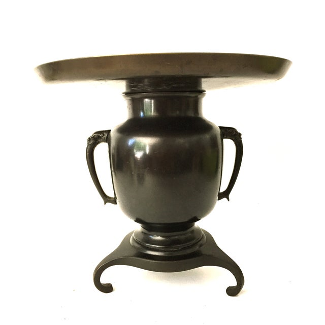 Vintage, Japanese, bronze, Usabata or vase for traditional flower arranging. Beautiful form with elephant head handles and...