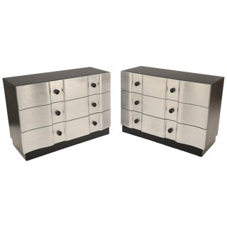 Rare Pair of Decorator Mid-Century Modern 3-Drawer Dressers by James Mont For Sale