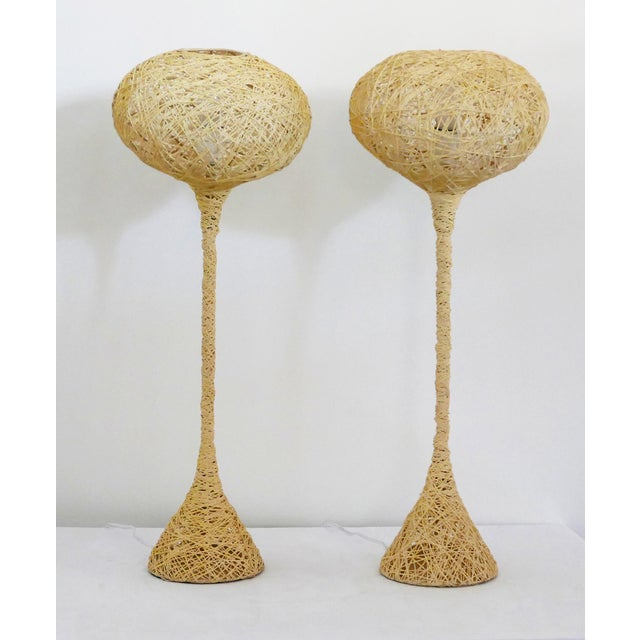 """Vintage spaghetti string lamps. These were spun using string and glue. They look somewhat like """"ET."""" A show stopper. They..."""