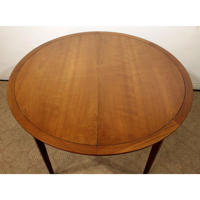 Drexel Mid-Century Modern Drexel Counterpoint Round Extension Walnut Dining Table #14 For Sale - Image 4 of 13