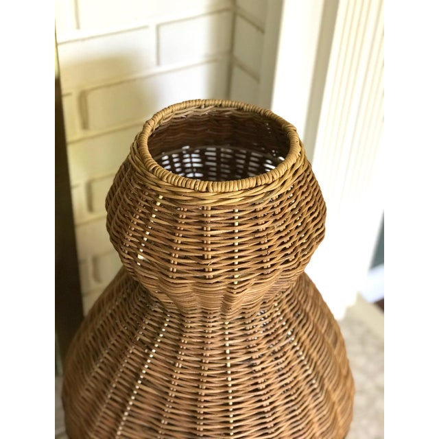 Mid-Century Modern Tall Sculptural Vintage Wicker Double Gourd Basket For Sale - Image 3 of 8
