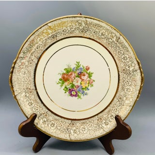 1950s Paden City Pottery Gold Filigree and Floral Cake Plate Preview