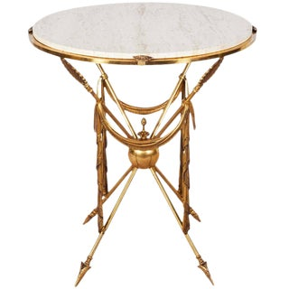 Final Call - 1970s Italian Brass Martini Table With Travertine Top For Sale