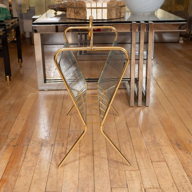 Mid-Century Modern 1960s Glass and Brass Curvilinear Magazine Rack For Sale - Image 3 of 5