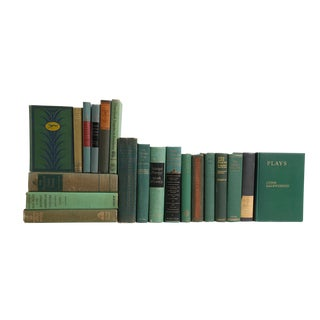 The Play - Twenty Midcentury Decorative Green Books For Sale