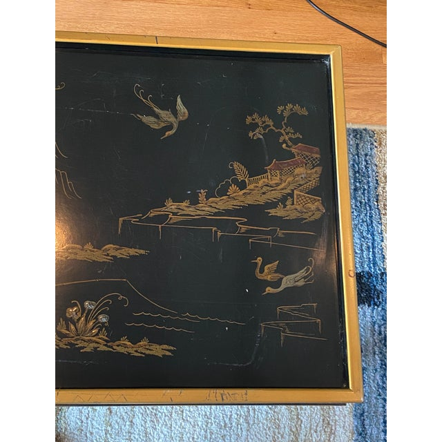 Metal Chinoiserie Drexel Heritage Black Lacquer Side Table For Sale - Image 7 of 11