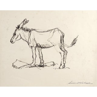 Study of Donkey Drawing by Simon Michael For Sale