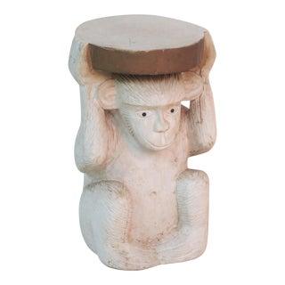 Carved Wood Monkey Garden Stool