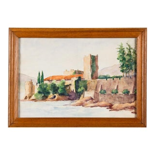 Mid 20th Century Framed Watercolor Painting with Fort For Sale
