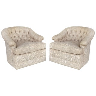 Upholstered Swivel Club Chairs With Tufted Backs - a Pair For Sale
