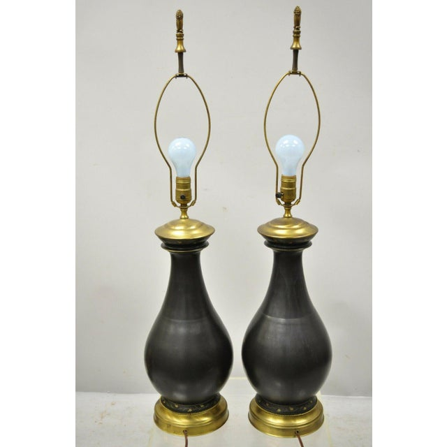 Antique French Neoclassical Black Porcelain Classical Bulbous Table Lamps - Pair For Sale - Image 10 of 13