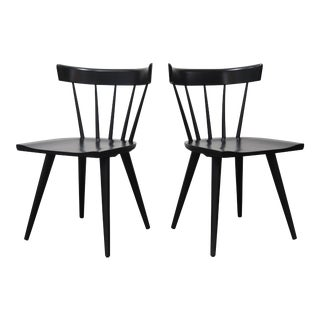 Vintage Mid Century Paul McCobb Black Lacquer Planner Group Chairs- A Pair For Sale