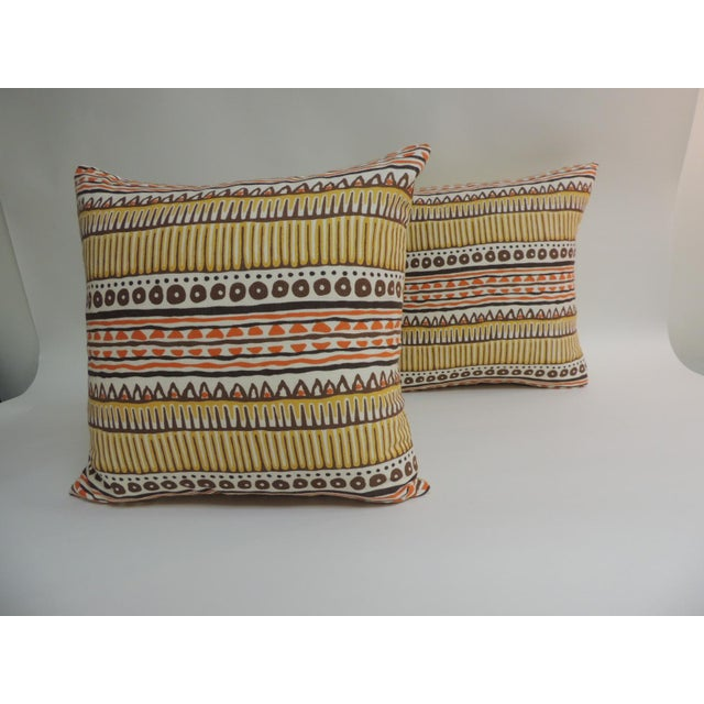 Pair of Vintage Mod Graphic Yellow, Brown and Orange Printed Decorative Linen Square Pillows - Image 2 of 5