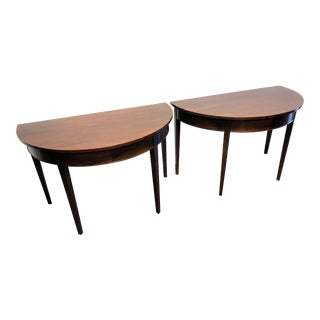 Craftique Solid Mahogany Demilunes Banquet Ends - Pair For Sale