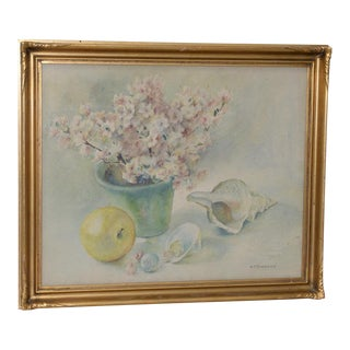 Vintage Still Life Watercolor by A. Stevenson C.1930s For Sale