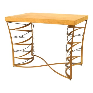 Important and Rare Iron and Parchment Table by Maurice Dufrène, 1935 For Sale