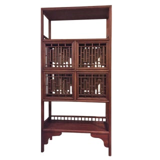 20th Century Chinese Lattice Doors Elm Bookcase For Sale