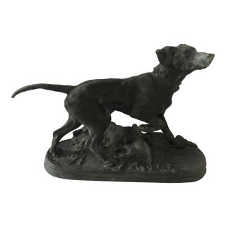 Vintage Metal Sculpture of a Bird Dog on Point For Sale