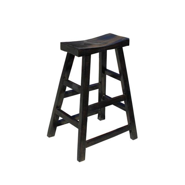 2010s Simple Distressed Semi Gloss Black Tall Wood Stool Bar Stool For Sale - Image 5 of 7