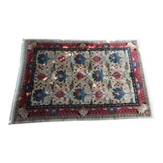 Extra Large Wool Rug Room Sized in Jewel Tones - 9′8″ × 13′11″ For Sale