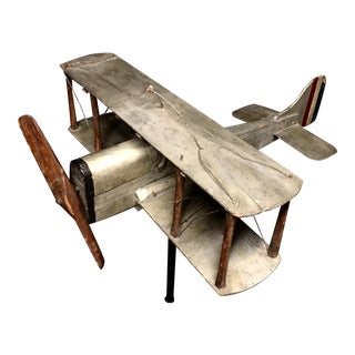 Wood Biplane Weathervane For Sale