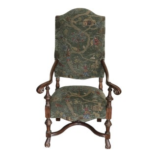 1980s Vintage Southwood Furniture Company Hickory n.c. Old World Weaver French Throne Chair For Sale