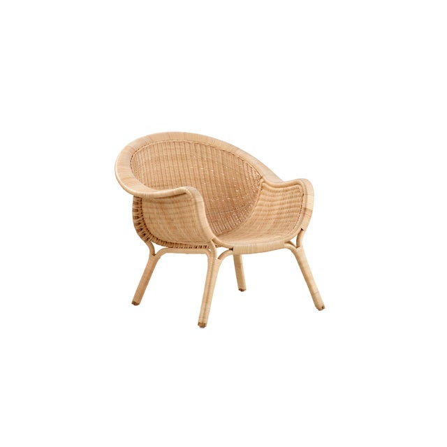 Mid-Century Modern Nanna Ditzel Madame Chair - Natural - Sunbrella Sailcloth Shade Seat and Back Cushion For Sale - Image 3 of 9