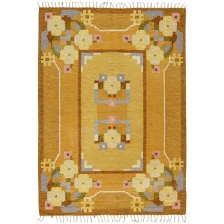 Yellow Vintage Swedish Flat-Weave Rug Signed by Ingegerd Silow For Sale
