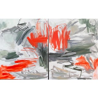 "XL ""Krakatoa"" by Trixie Pitts Abstract Expressionist Diptych Oil Painting For Sale"