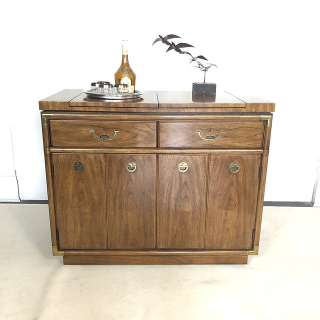 Campaign Drexel Campaign Fruitwood & Brass Bar Cabinet For Sale - Image 3 of 13