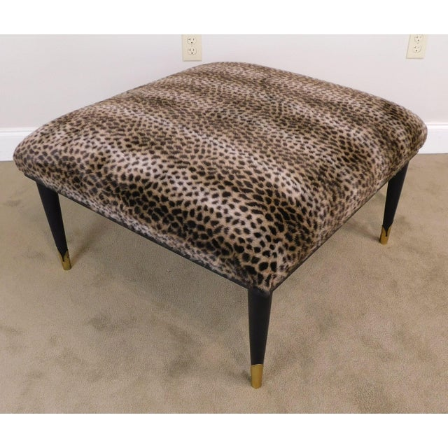 High Quality Solid Wood Black Painted Base Ottoman with Cheetah Print Upholstery