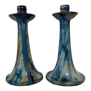 1920s Art Deco Drip Glaze Roger Guerin Candelabras - a Pair For Sale