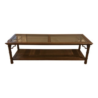 1960s Mid Century Faux Bamboo Glass Top Coffee Table For Sale
