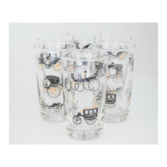 Mid-Century Modern Libbey Curio/Carriage & Buggy Highball & Rocks Glasses - Set of 10 For Sale - Image 3 of 7