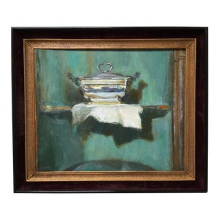 Still Life Oil Painting Silver Tureen For Sale