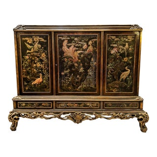 1920s Venetian Painted Parcel-Gilt Chinoiserie Dry Bar For Sale