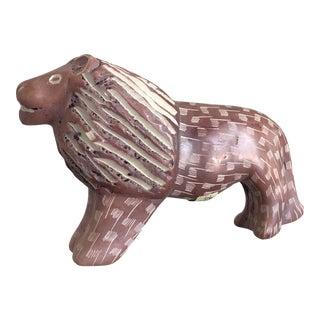 Vintage African Handmade Carved Soapstone Lion Figurine For Sale