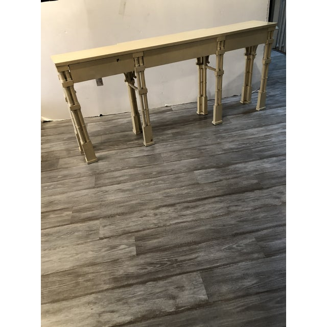 Elegant Long and Narrow Painted Faux Bamboo and Wood Console Table For Sale - Image 9 of 10