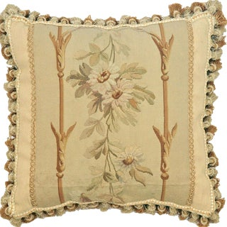 """19th Century French Aubusson Pillow - 17"""" X 17"""" For Sale"""