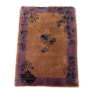 1960s Art Deco Hand Knotted Nichols Style Area Rug