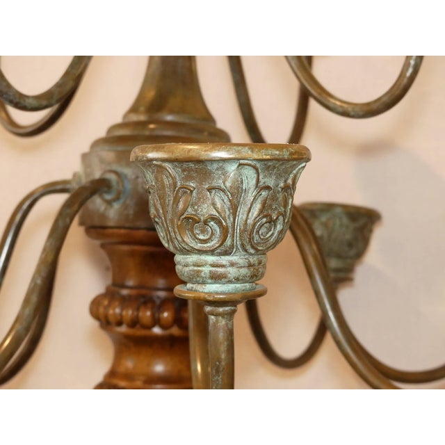 Traditional Maitland Smith Carved Wood and Bronze Candelabra Torchieres - a Pair For Sale - Image 3 of 10