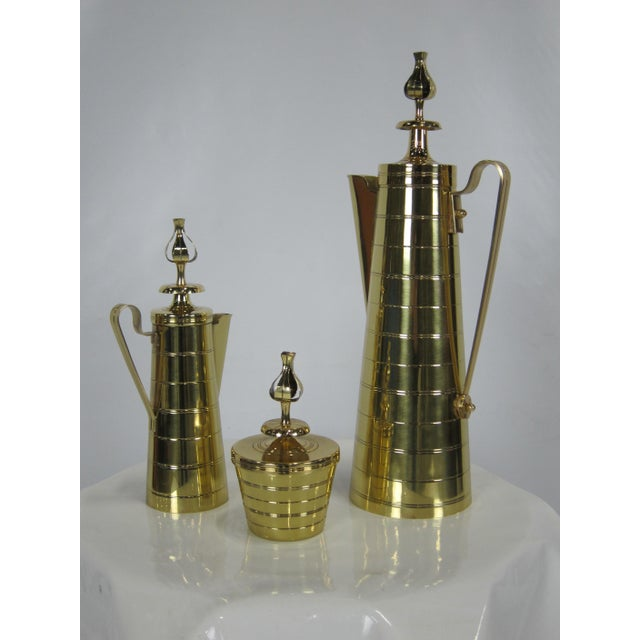 Mid-Century Modern 3 Piece Brass Coffee Service by Tommi Parzinger for Dorlyn For Sale - Image 3 of 6