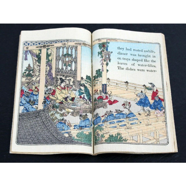 Lithograph Antique Japanese Cloth Fairy Tale Book For Sale - Image 7 of 8