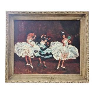 Original Oil Painting Ballet Flamenco Dancers, 1970s